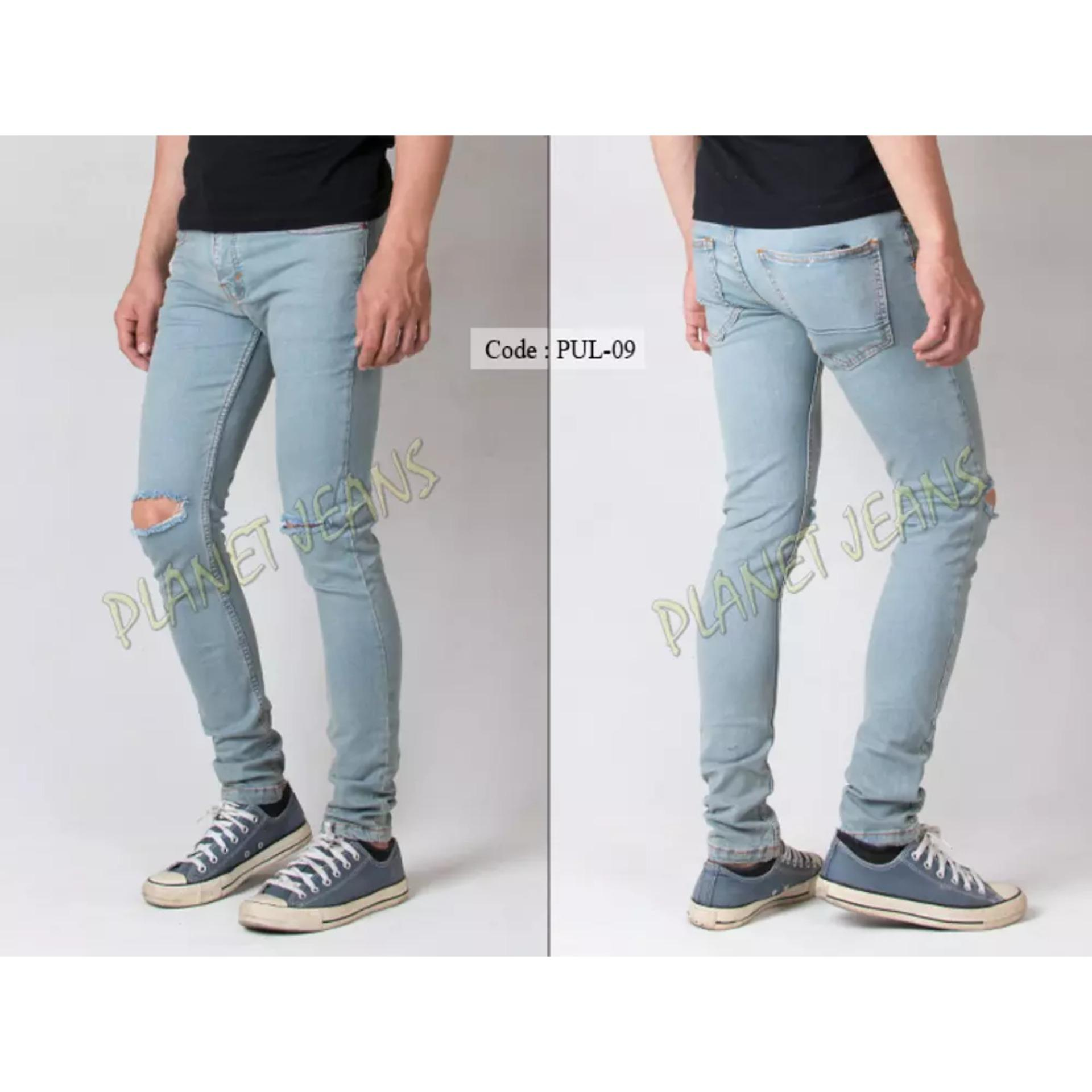 Celana Jeans Panjang Premium Robek Lutut Pria Skinny / Pensil / Denim Skiny Sobek Di Dengkul Warna Vintage Blue / Hitam / Biru Dongker Cowok 1
