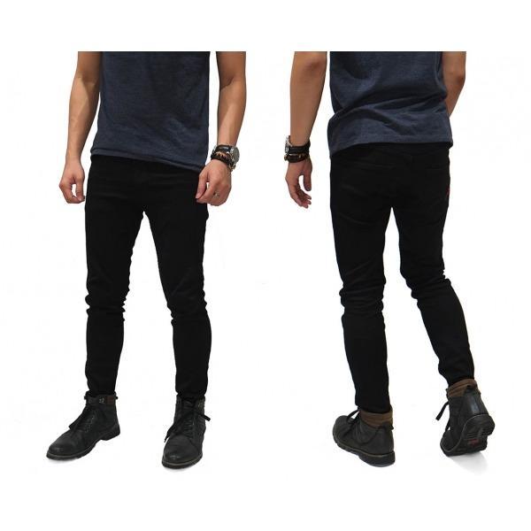 Celana Jeans pria Skinny Denim Full Black