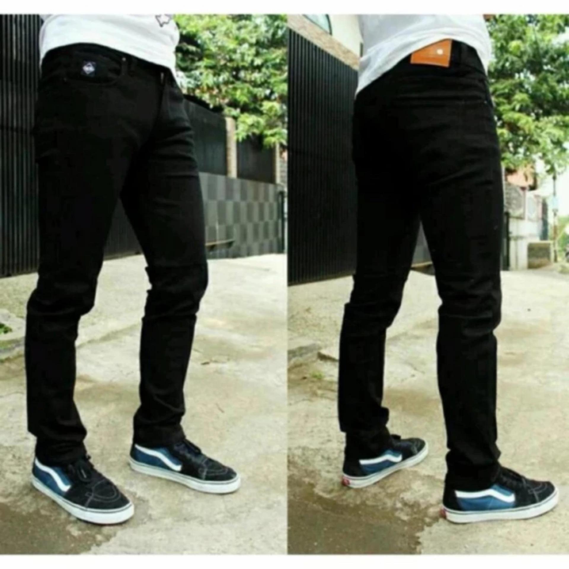 Celana Jeans Pria Skinny Fit Hitam Premium