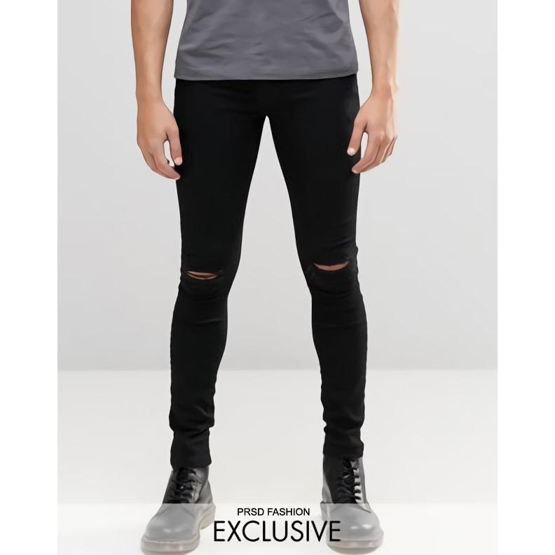 Spesifikasi Celana Jeans Pria Sobek Jeans Ripped Jeans Robek Jeans Rips Skinny Jeans Celana Pensil Stretch Premium Hitam Lengkap Dengan Harga