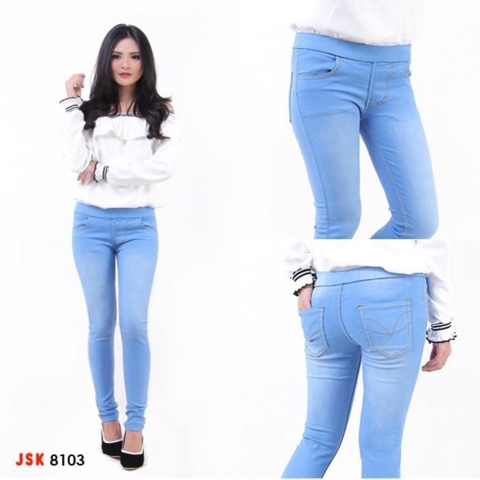 Beli Celana Jeans Wanita Pinggang Karet Celana Jeans Rubber Strecht Dengan Kartu Kredit