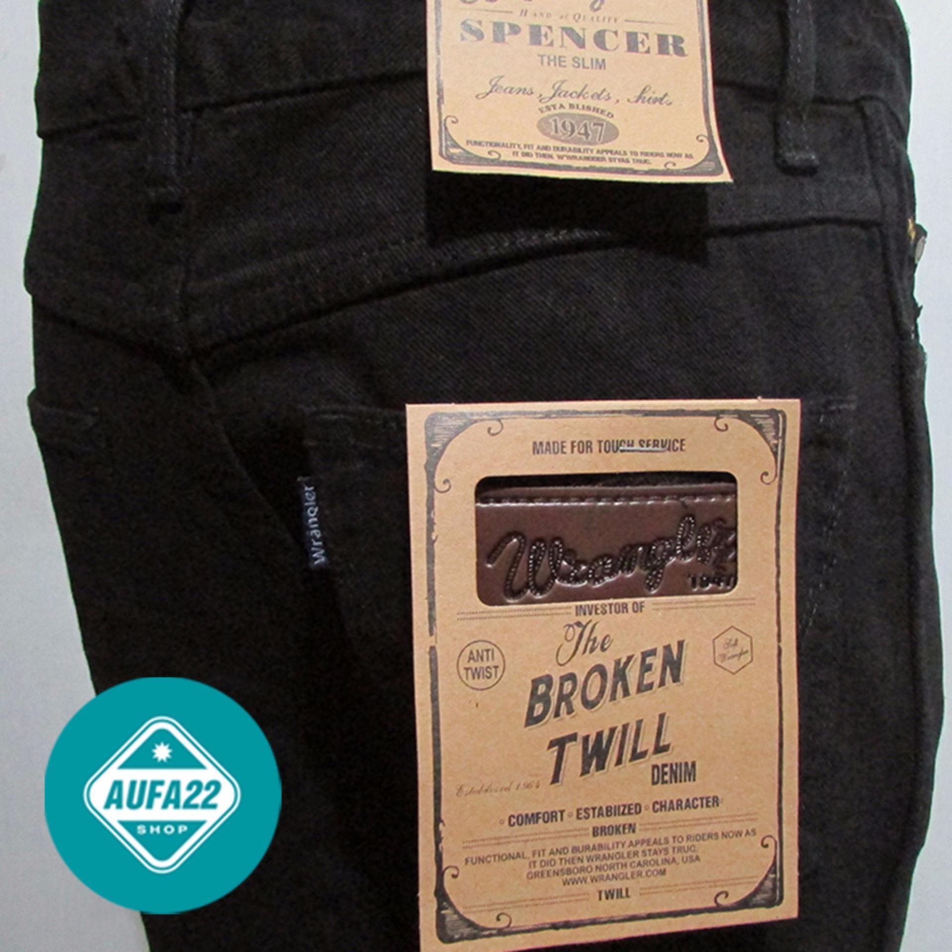 Celana Jeans Wrangler Hitam - Black Premium Reguler Fit Basic Standar Terbaru Terlaris Best Seller