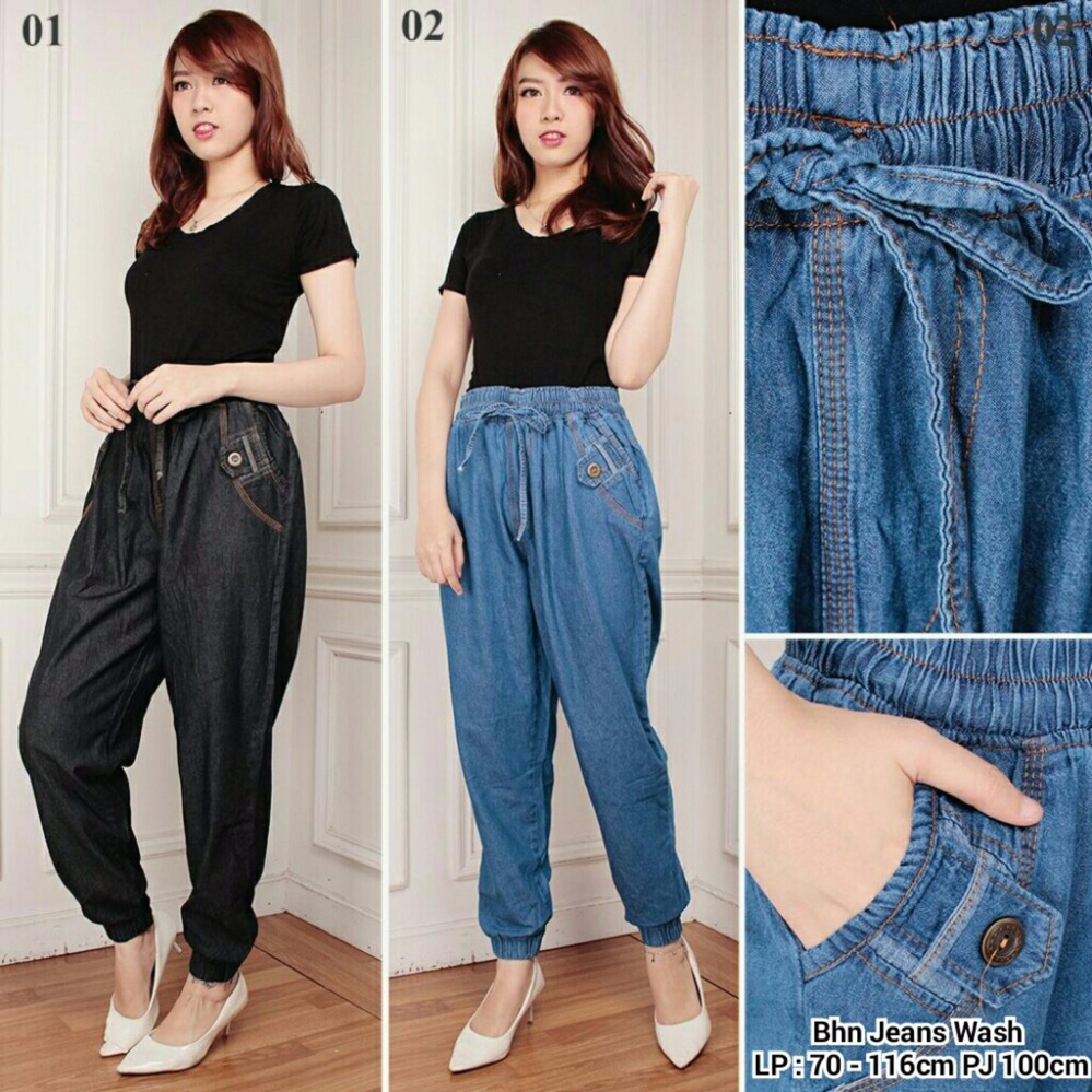 Jual Celana Joger Jeans Wanita Jumbo Long Pant Sintia Hitam Online Di Banten