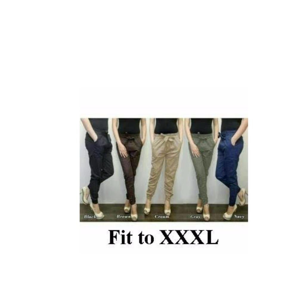 Harga Celana Joger Jumbo Panjang Wanita Jumbo Long Pant Akiera Cream Celana Baru