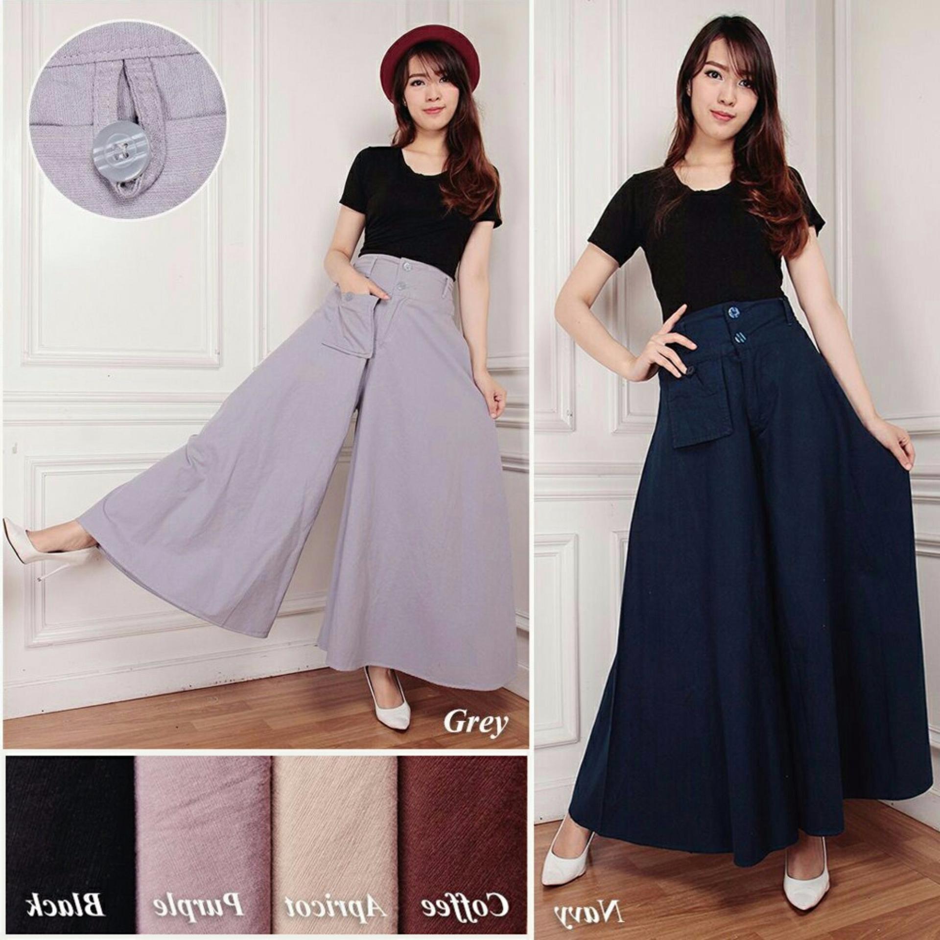 Jual Celana Kulot Rok Panjang Wanita Jumbo Long Pant Ayuna Hitam Murah