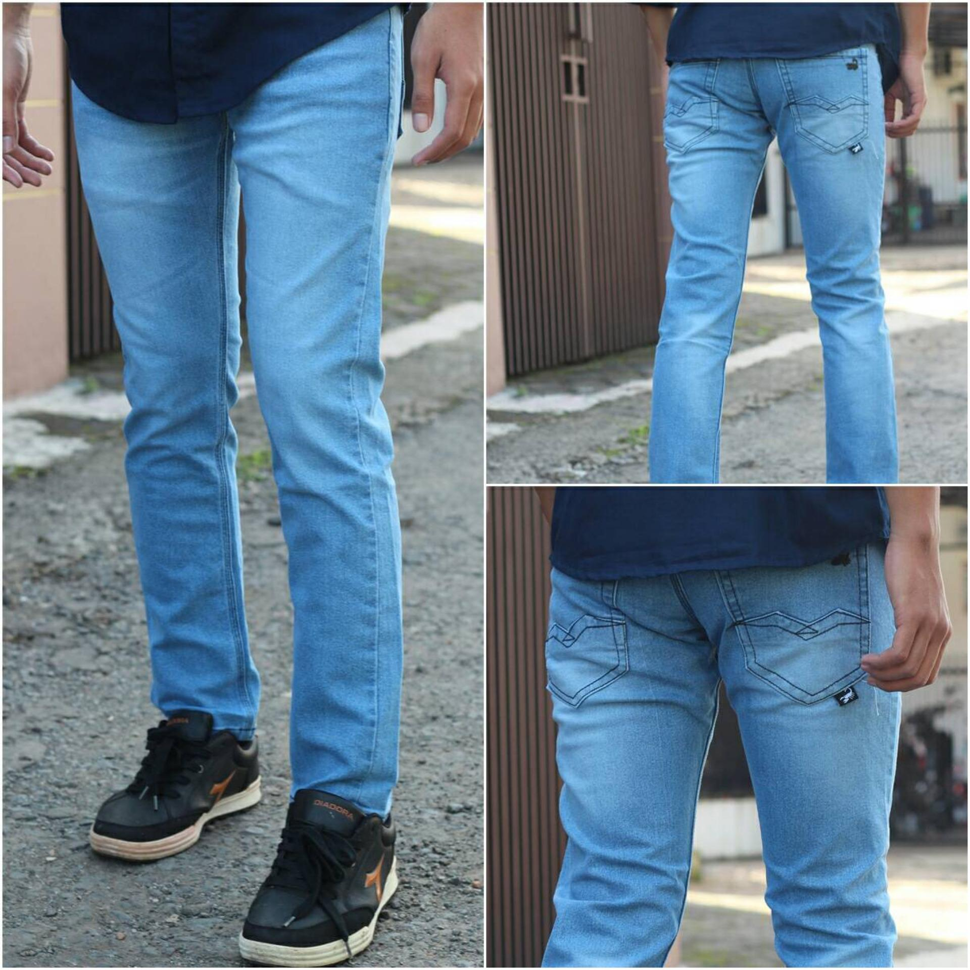 Celana PANJANG Jeans Slimfit Pria - Denim Stretch - Jeans Pensil Melar  - BIO BLITZ