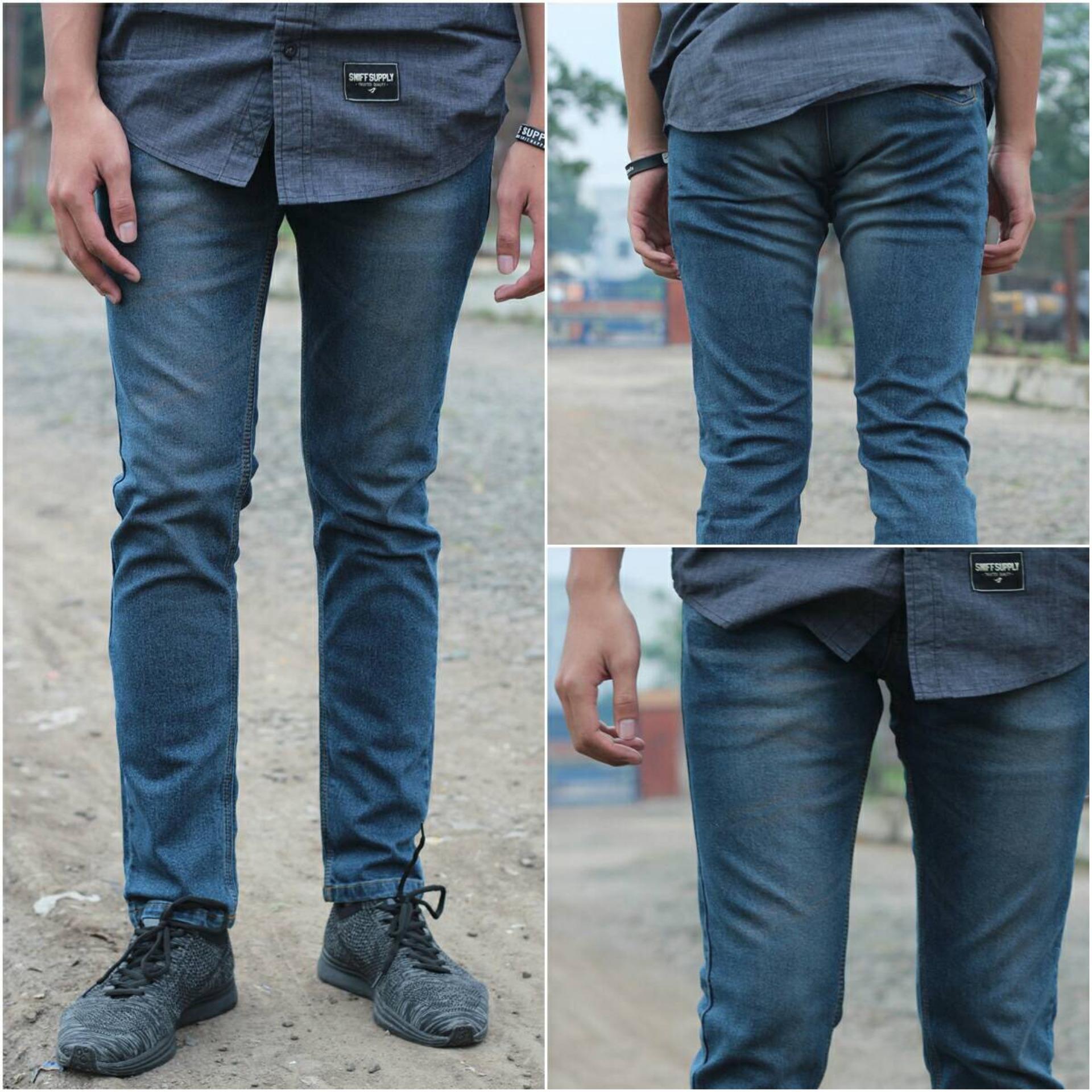 Celana PANJANG Jeans Slimfit Pria - Denim Stretch - Jeans Pensil Melar  - DARK BLUE