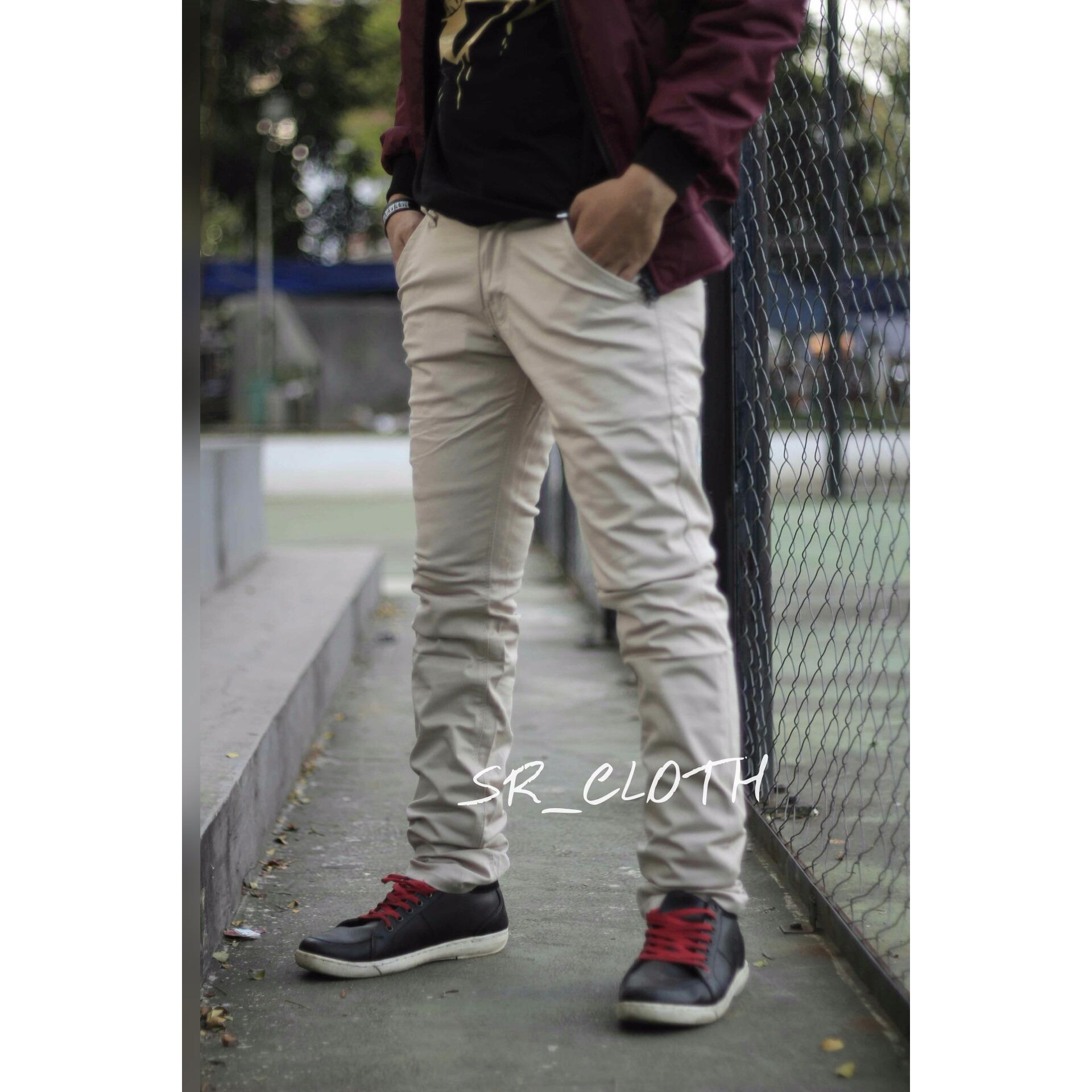 Celana Panjang Pria Chino Pocket Mocca Crem Hitam Premium Sr Cloth Diskon 50