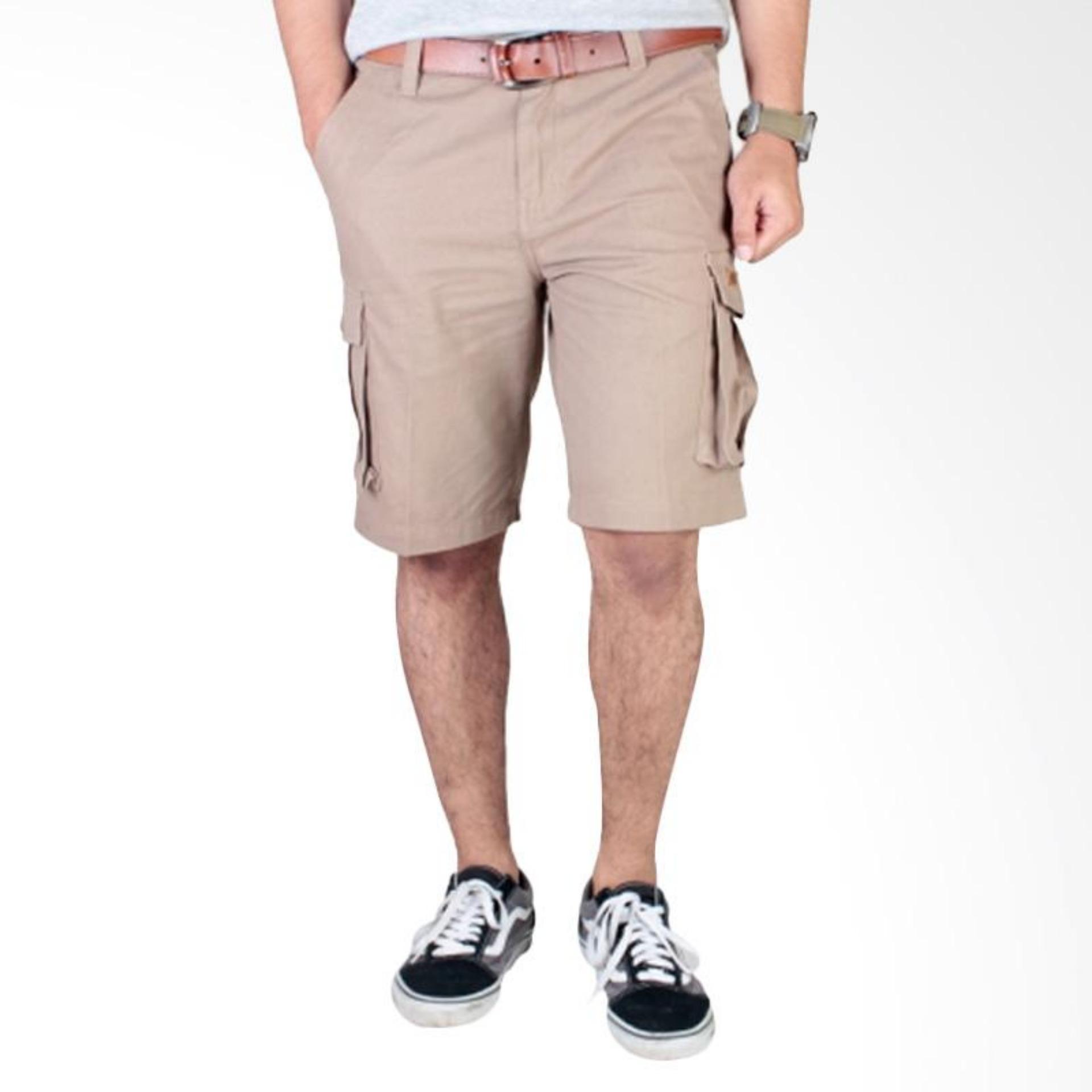 Promo Celana Cargo Pria Pendek Cream Akhir Tahun