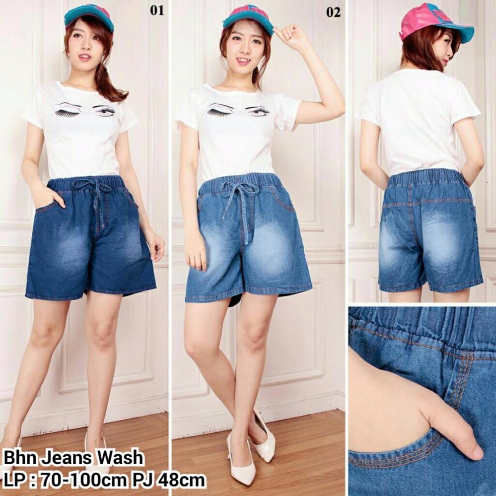 Penawaran Istimewa Celana Pendek Jeans Hotpant Wanita Jumbo Short Pant Micka Biru Muda Terbaru