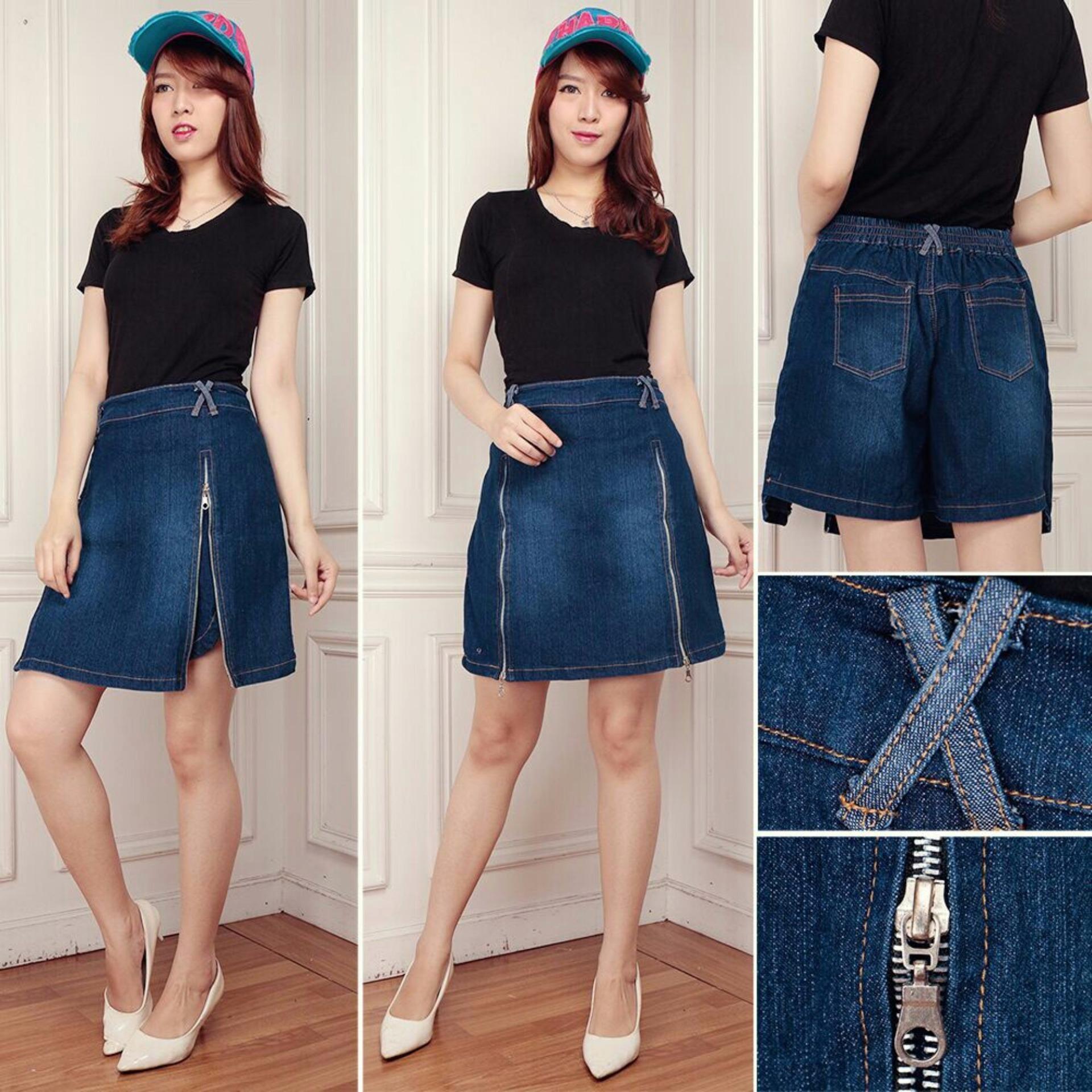 Jual Beli Celana Pendek Jeans Hotpant Wanita Jumbo Short Pant Twinzipper Baru Banten