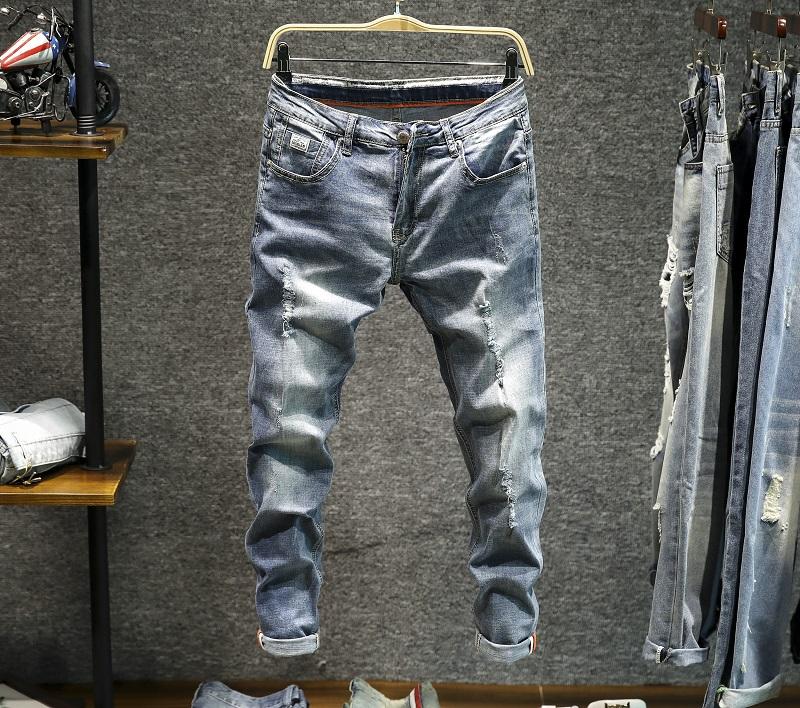 Jual Celana Pensil Jeans Pria Sepersembilan Berlubang Membentuk Tubuh Model Tipis Versi Korea 9610 Biru Muda Ori