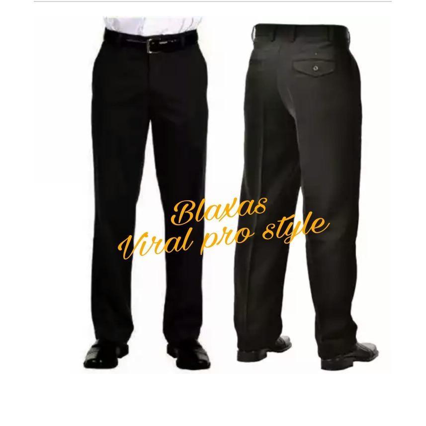 Celana Pria Kerja Kantor Formal  - Standart / Reguler Fit - Bahan  Kain Twist / Teflon High Quality - Hitam - Viral Pro