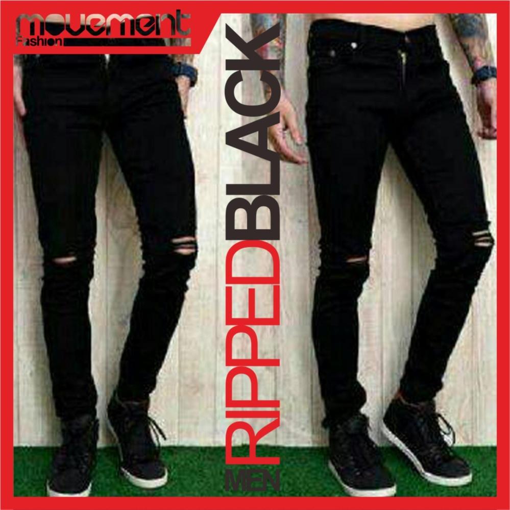 Spesifikasi Celana Ripped Jeans Sobek Pria Hitam Lengkap
