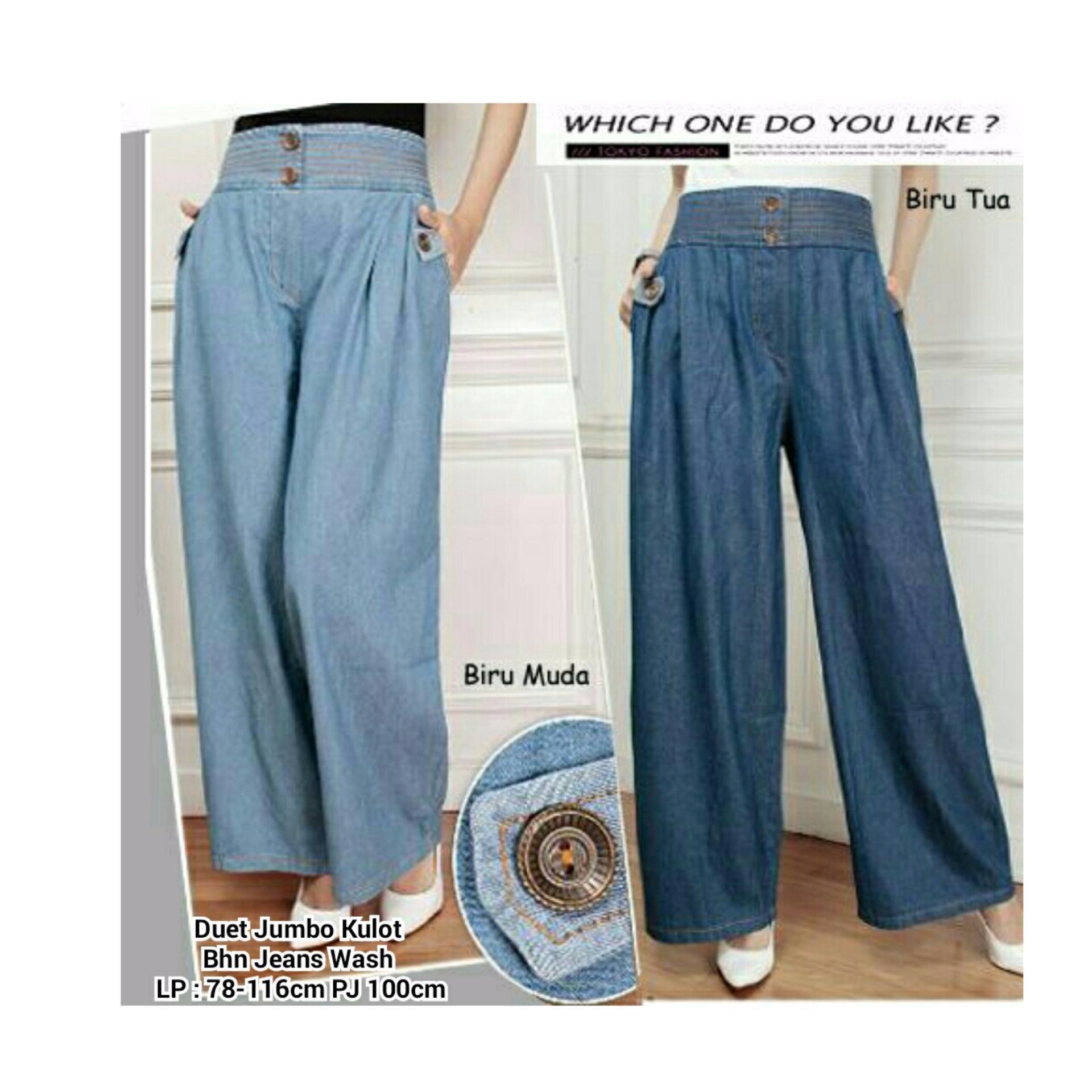 Celana Rok Kulot Jeans Wanita Jumbo Double Biru Muda Diskon Akhir Tahun