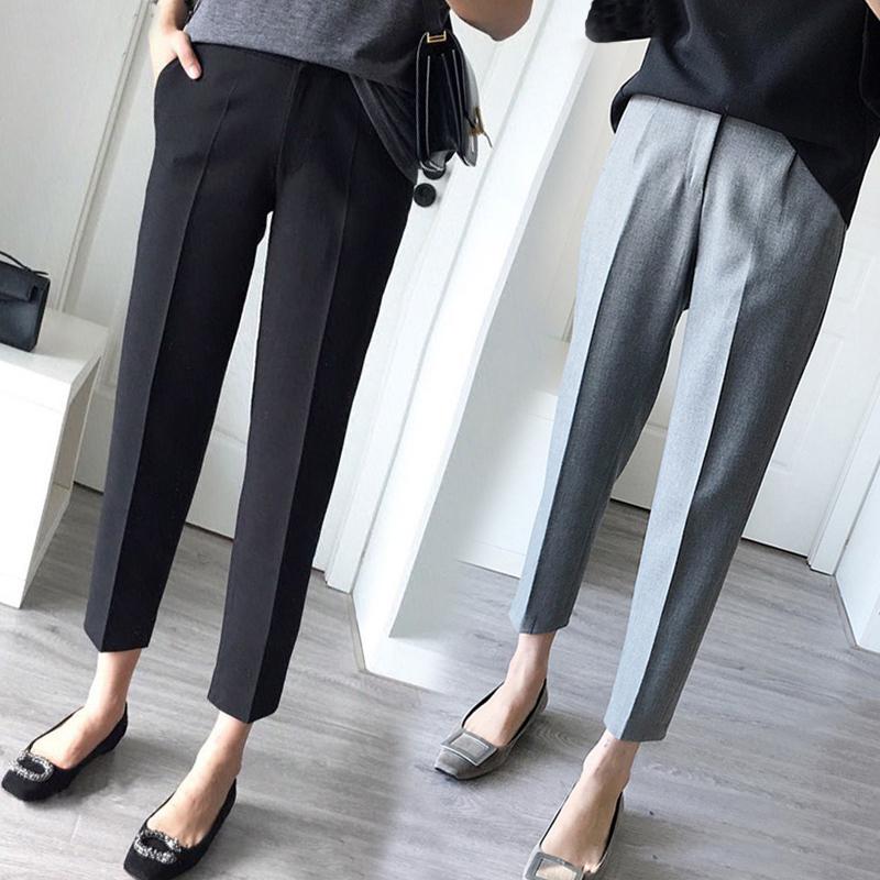 Promo Versi Korea Dari Jas Kaki Celana Bahan Celana Jas Hitam Hitam Di Tiongkok