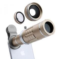 Lensa Ponsel 18X Telephoto Lensa Super Lebar Sudut Lensa Macro Lensa 3 Di 1 Perlengkapan Lensa Kamera dengan Mini fleksibel Tripod dan Klip Universal (Emas) -Internasional