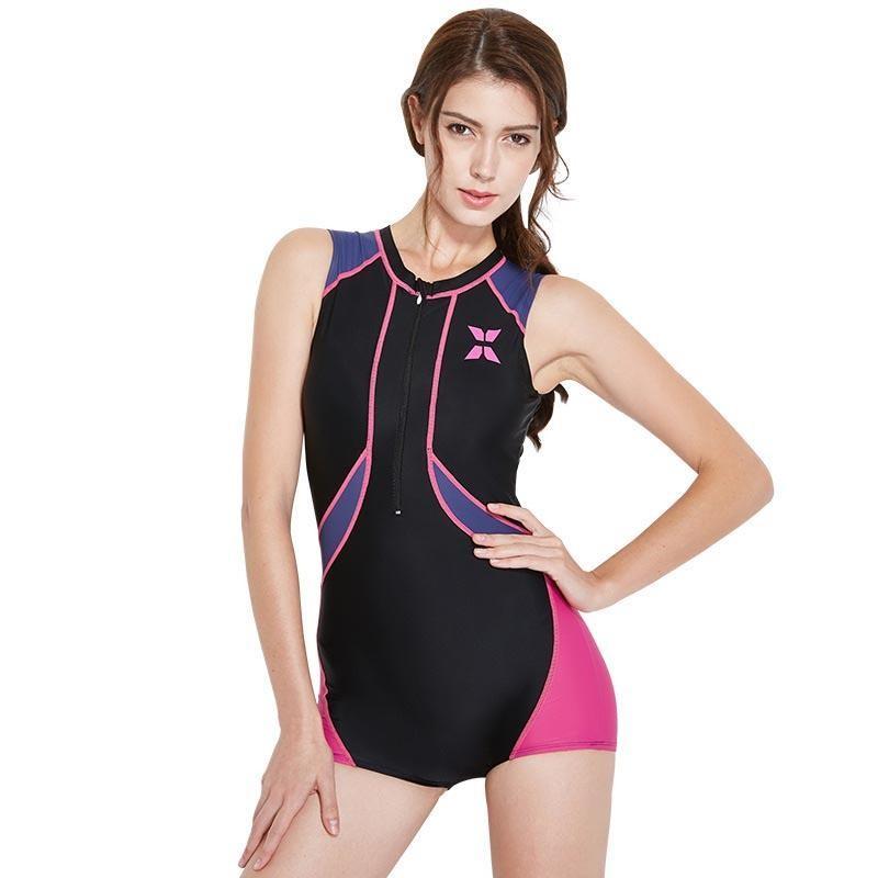 Cepat Kering Wanita One Piece Swimwear dengan Bra Pad Bikini Suit Surfing Menyelam Snorkeling Pakaian Renang Baju Renang Besar Ukuran Rashguard Tabir Surya-Hitam