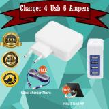 Spek Charger Adaptor 4 Port Usb Casan 6 Ampere Gratis Kabel Charger Micro Tali Warna Iring Stand Hp