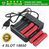 Charger Baterai 18650 Battery 4 Slot Fast Charging Asli