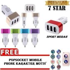 Charger Hp di Mobil - Fast Charger 5.1A 3 Port USB + Gratis Popsocket Mobile Phone Karakter Motiv 1 Pcs
