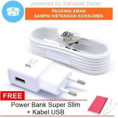 Charger Samsung Original 100% Fast Charging 15W-2A - Putih + Free Power Bank dan Kabel USB Charger
