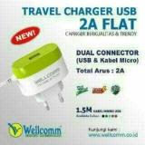 Diskon Charger Usb Kabel 2A Flat Wellcomm Branded