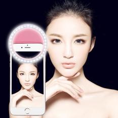 Pengisian Selfie Beauty Ringan, untuk iPhone, Galaksi, Huawei, Xiaomi, LG, HTC atau Ponsel Pintar Lainnya: Dapat Disesuaikan Klip & Kabel USB (Merah Muda)-Internasional