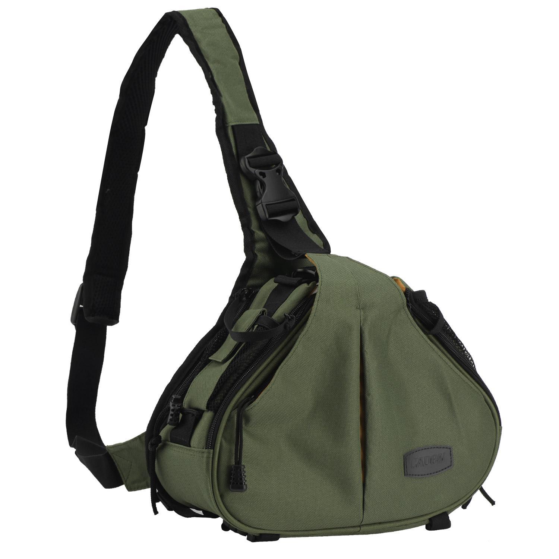 Chechang Army Green Waterproof Crossbody Single Shoulder Tas Nilon untuk Kamera Canon 600D D600 7D 5D2 60D dan Nikon D90 D60 D700 D7000