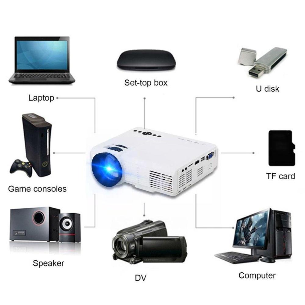 CHEER HD Mini Pico Proyektor 800*480 LED Video Proyektor untuk Hiburan Rumah Q5-