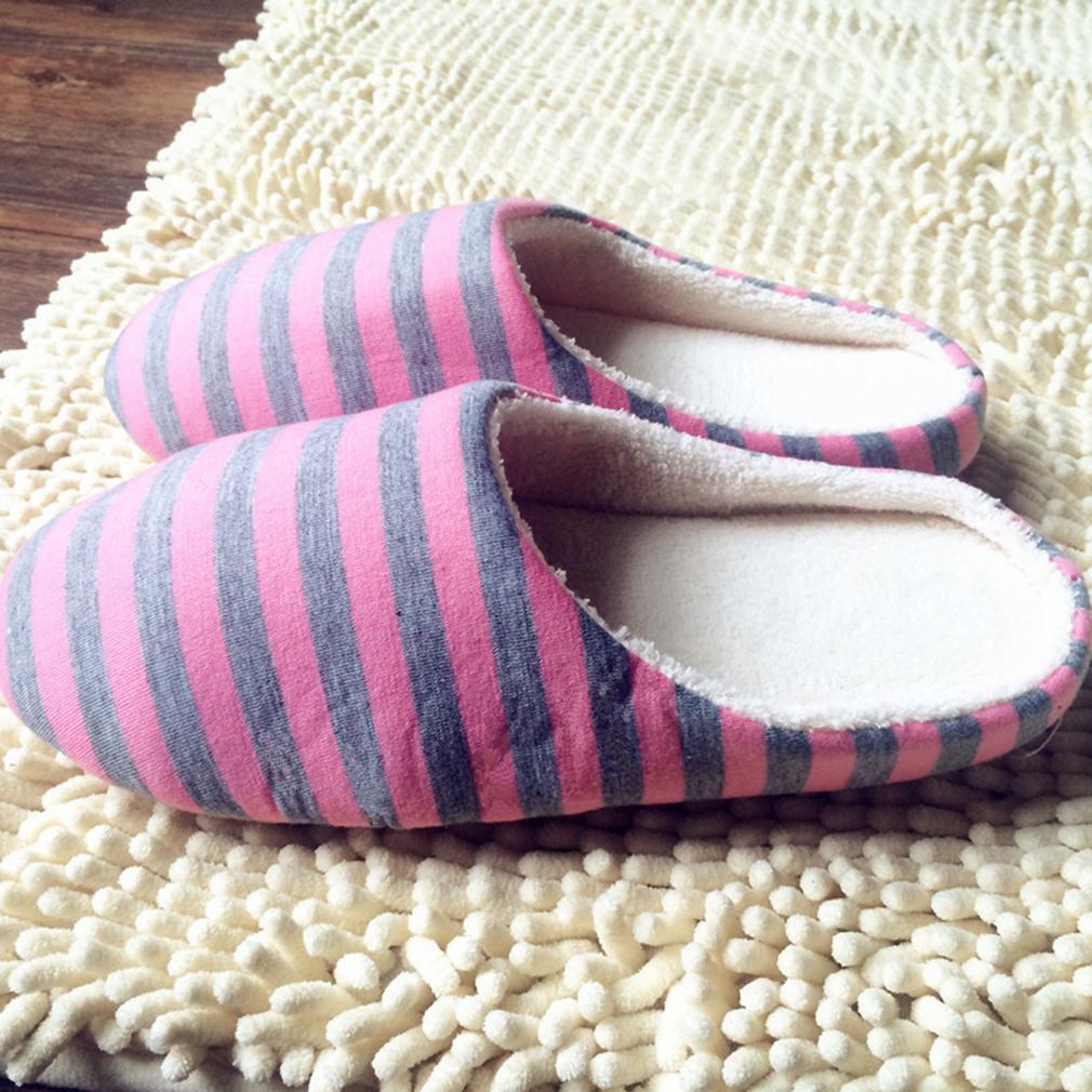 Diskon Besarcheer Kain Bergaris Bawah Pasangan Wanita Pria Hangat Sandal Non Tergelincir Sepatu Pink Intl