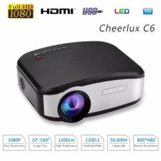 CHEERLUX C6 Mini LCD Portable LED Projector Proyektor 1080p HD 800x480 1200 Lumens Support HDMI USB VGA AV