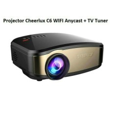 CHEERLUX C6 Mini Portable Projector WiFi Edition - Anycast - TV Tuner - 1200 Lumens - Hitam/Gold
