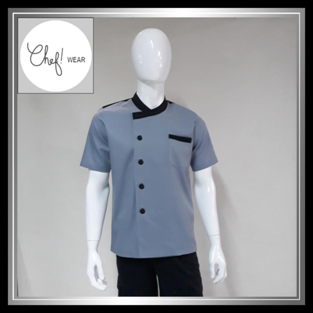 Chef Wear Baju Koki Abu Leher Bulat Lengan Pendek S-XL