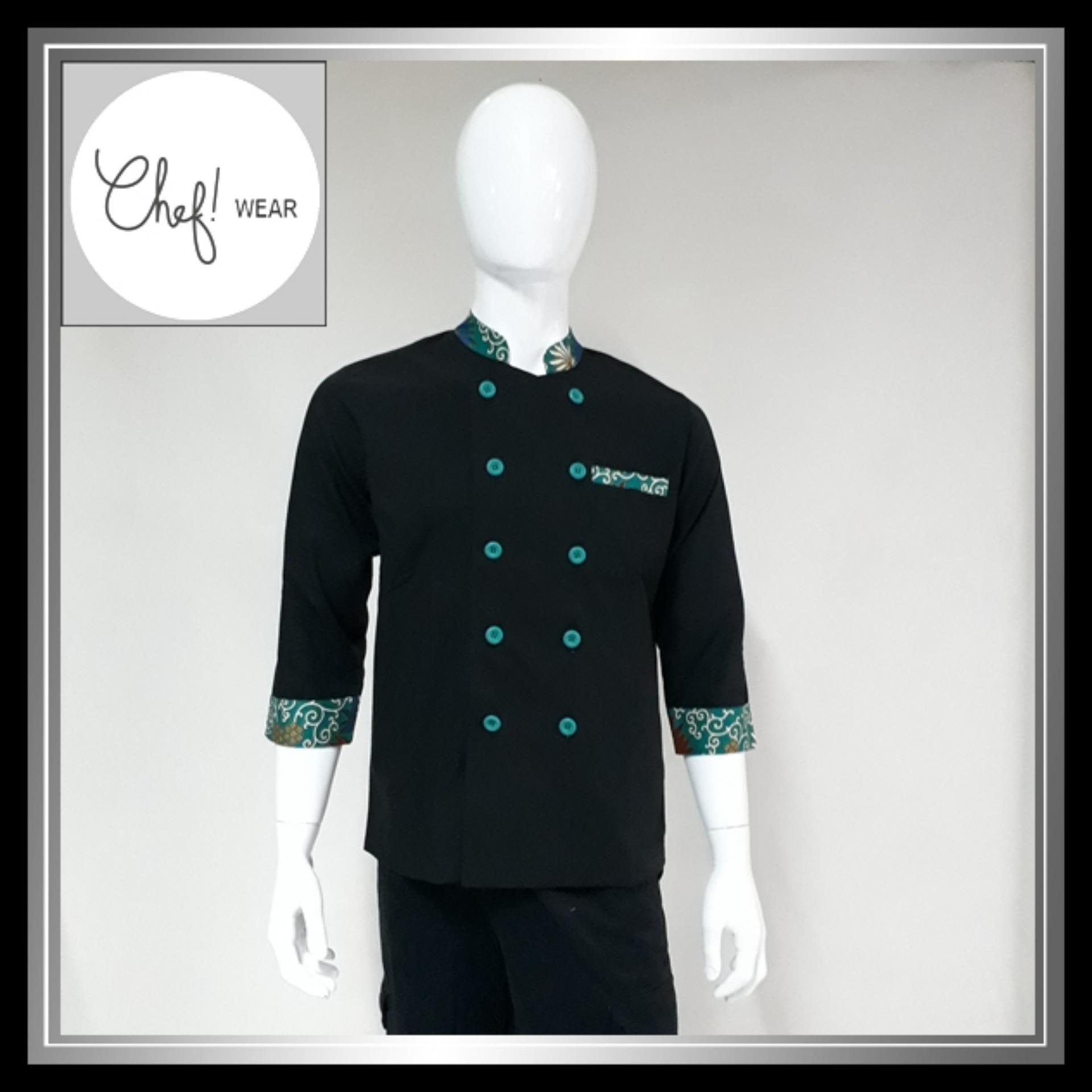 Chef Wear Baju Koki Hitam Komb Batik Hijau S-XL