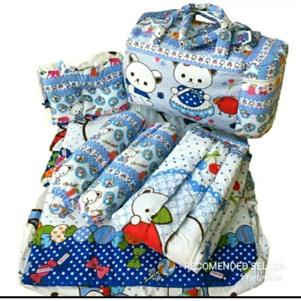 Chekiddo Tas Gendongan Bantal Guling Alas Tidur Bayi Set 4 in 1 - Biru