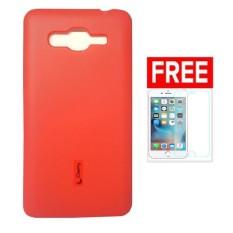Cherry Silicon Case Plus Glass Lenovo S880 - Merah