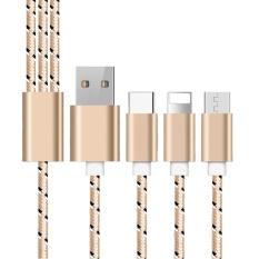 Chilcar 1 M 3In1 Universal Aluminium Paduan Nilon Dikepang Kabel Pengisian Micro Usb Linghtning Tipe C Iphone Android Intl Chilcar Diskon 30