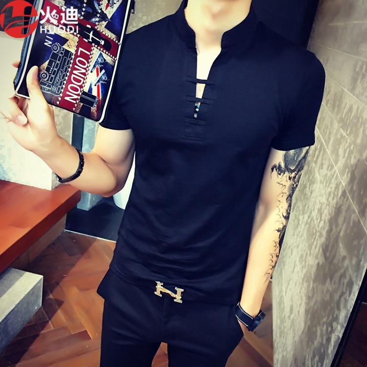 Beli Cina Gaya Pria V Neck Lengan Pendek T Shirt Hitam Baju Atasan Kaos Pria Kemeja Pria Oem Dengan Harga Terjangkau