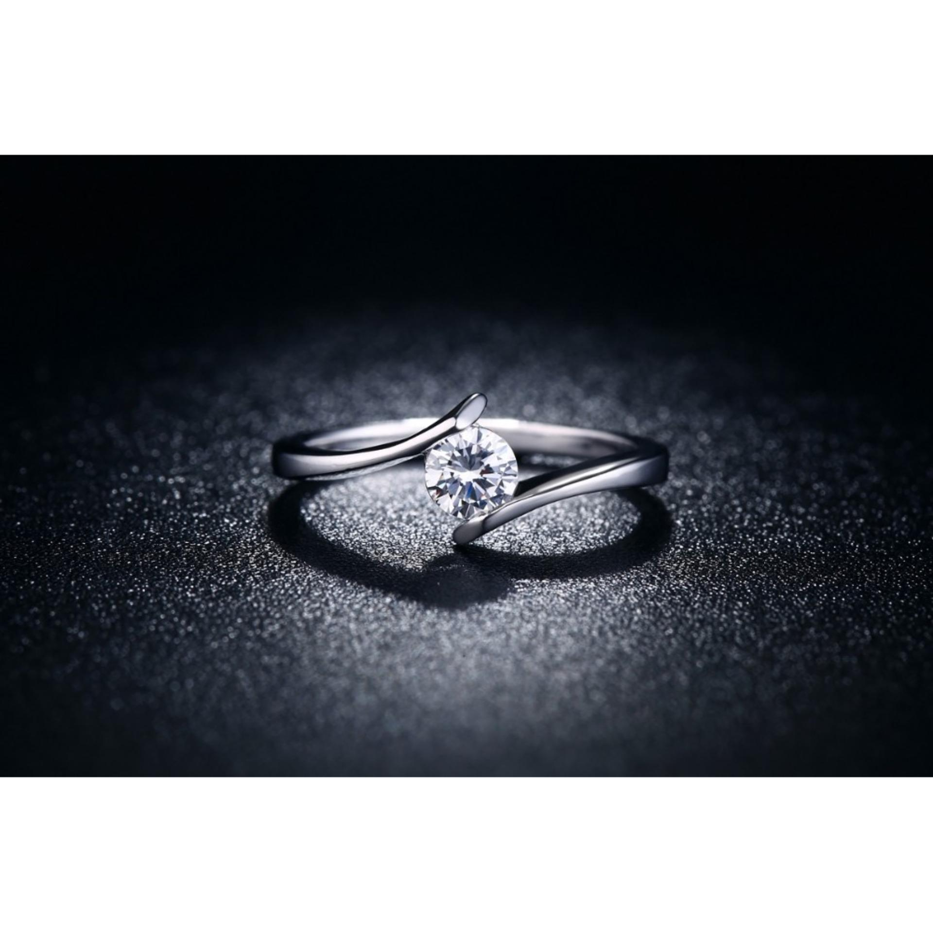 Cincin Silver Berlian Lapis Platinum Perhiasan Simple Elegan