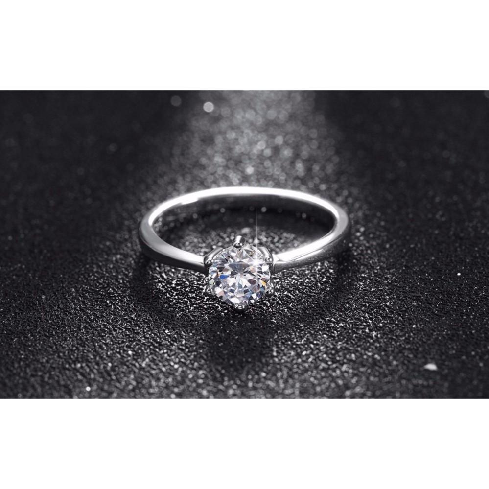 Cincin Silver Lapis Emas Putih Batu Berlian Kecil Simpel Klasik