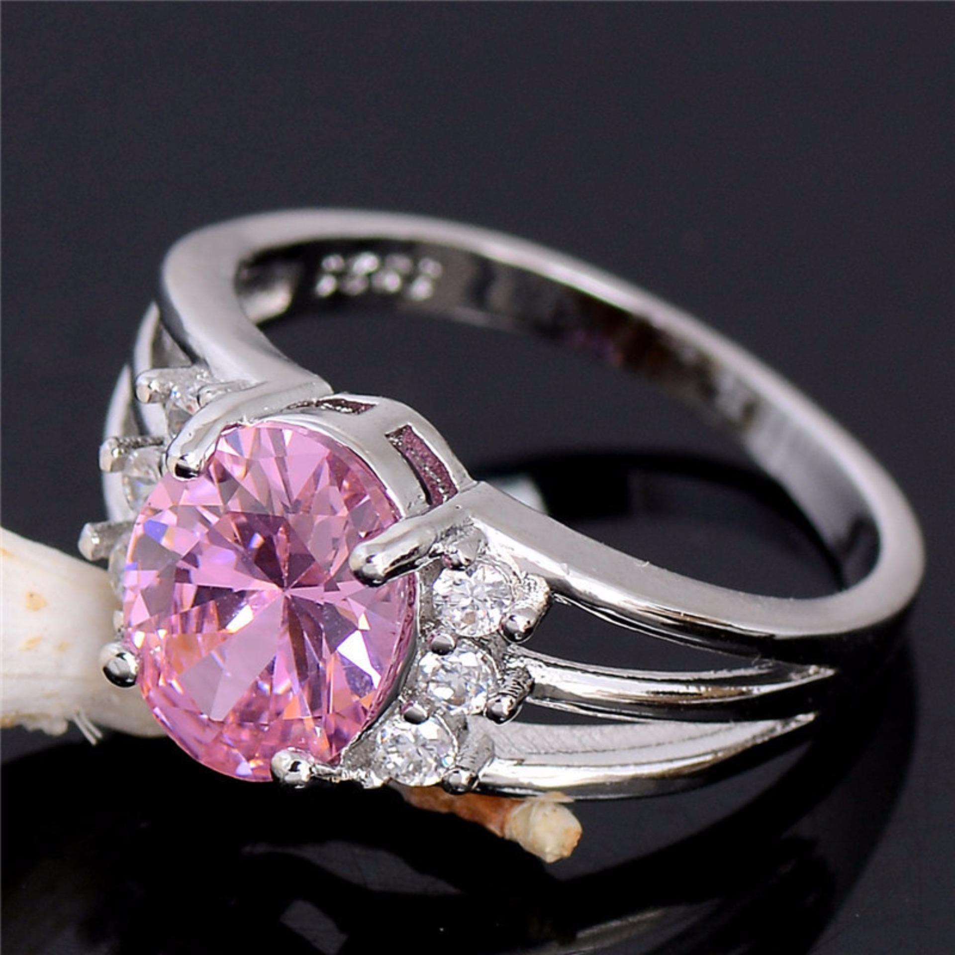 Cincin Silver Lapis Emas Putih Batu Pink Oval Berlian Imitasi Mewah Di Yogyakarta Diskon 50