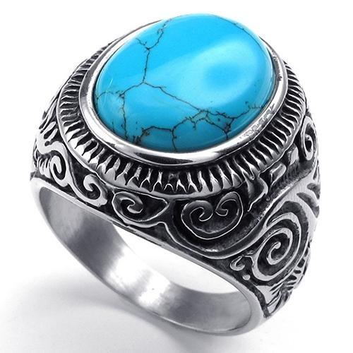 Cincin Titanium Bluelans Klasik Vintage Style Big Turquoise Stainless Steel Diukir Band Ring 14 Di Tiongkok