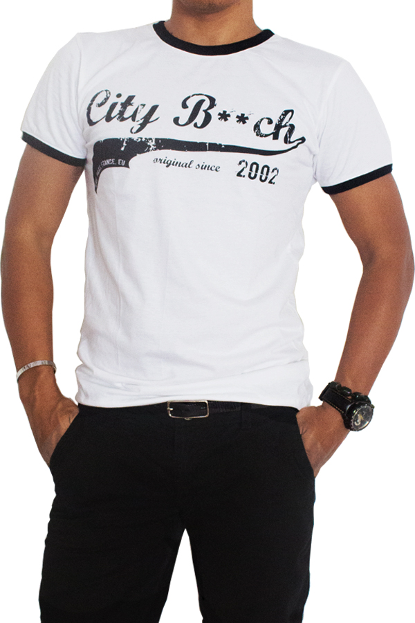 Review Terbaik City B Ch Round Neck T Shirt Super Beach Style Hitam Putih