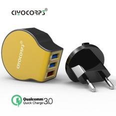 Spesifikasi Ciyocorps Usb Charger 3 Ports Qualcomm Quick Charge 3 Mobile Phone Charger Wall Adapter For Iphone 7 Samsung S8 Xiaomi Huawei Ciyocorps Quick Charger 3 Port D22 Gold Bagus