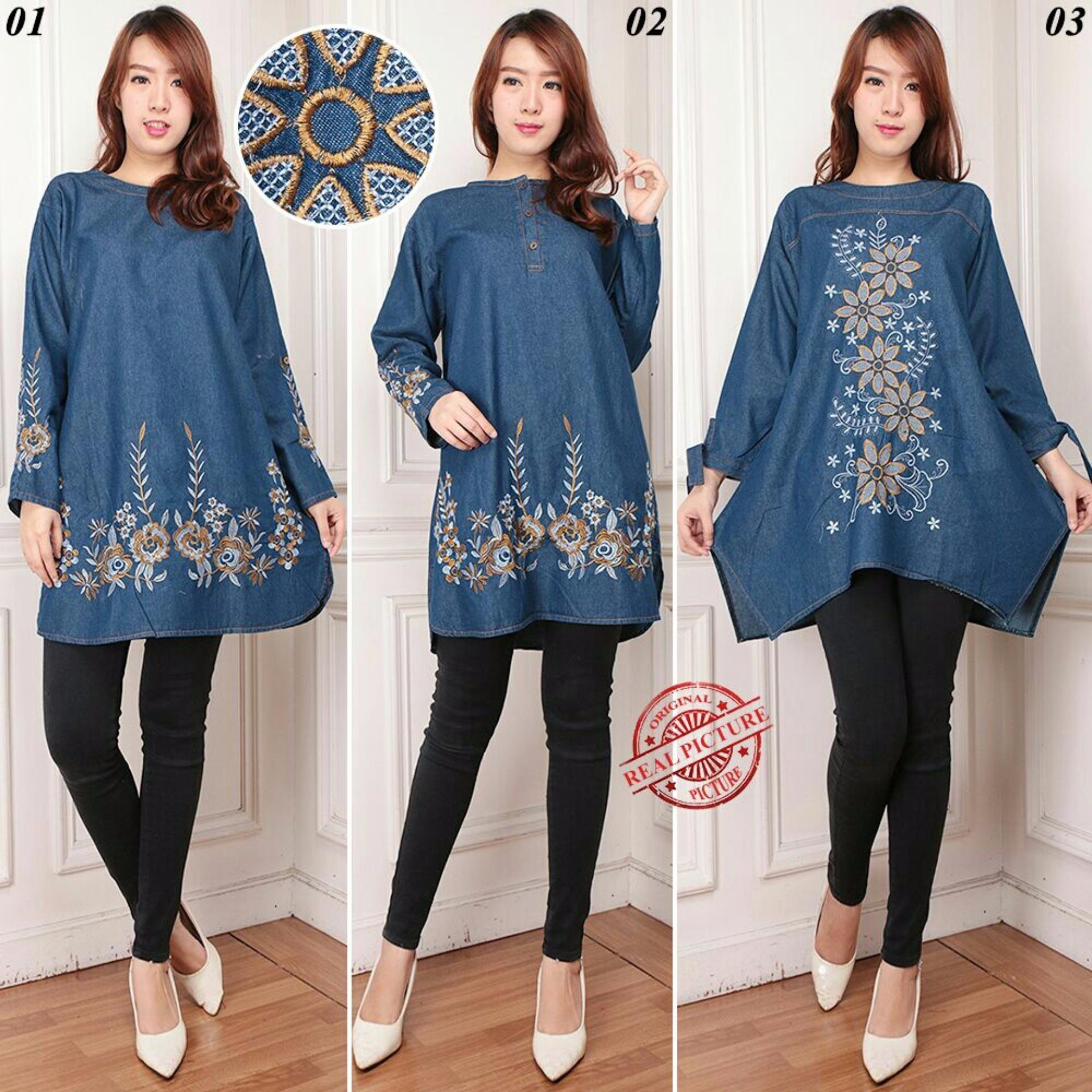 Diskon Cj Collection Atasan Blouse Kemeja Tunik Wanita Jumbo Long Tunik Shirt Trinisa 01