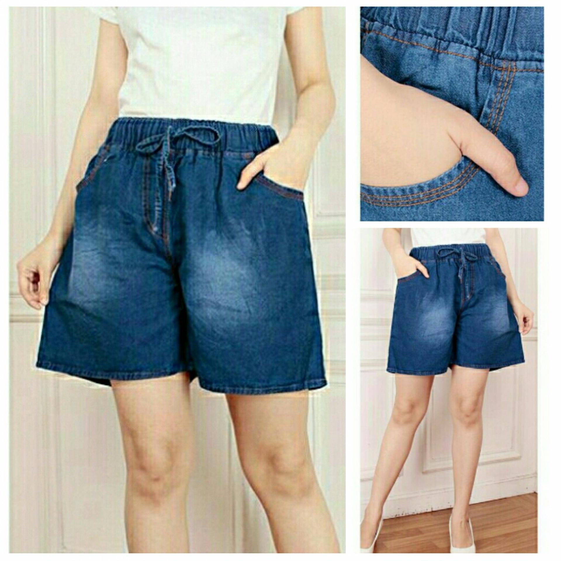 Jual Cj Collection Celana Jeans Jumbo Pendek Hotpant Wanita Jumbo Short Pant Savita Celana Murah