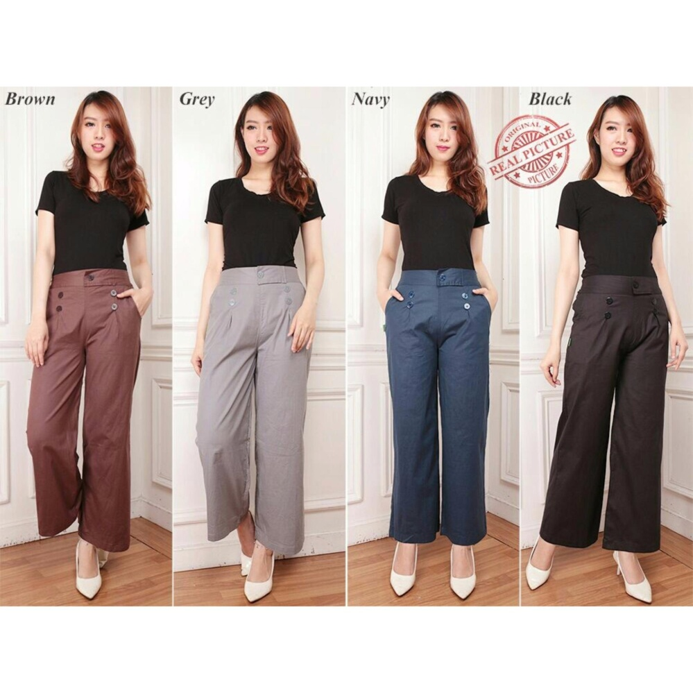 Cuci Gudang Cj Collection Celana Kulot Panjang Wanita Long Pant Twosa Navy