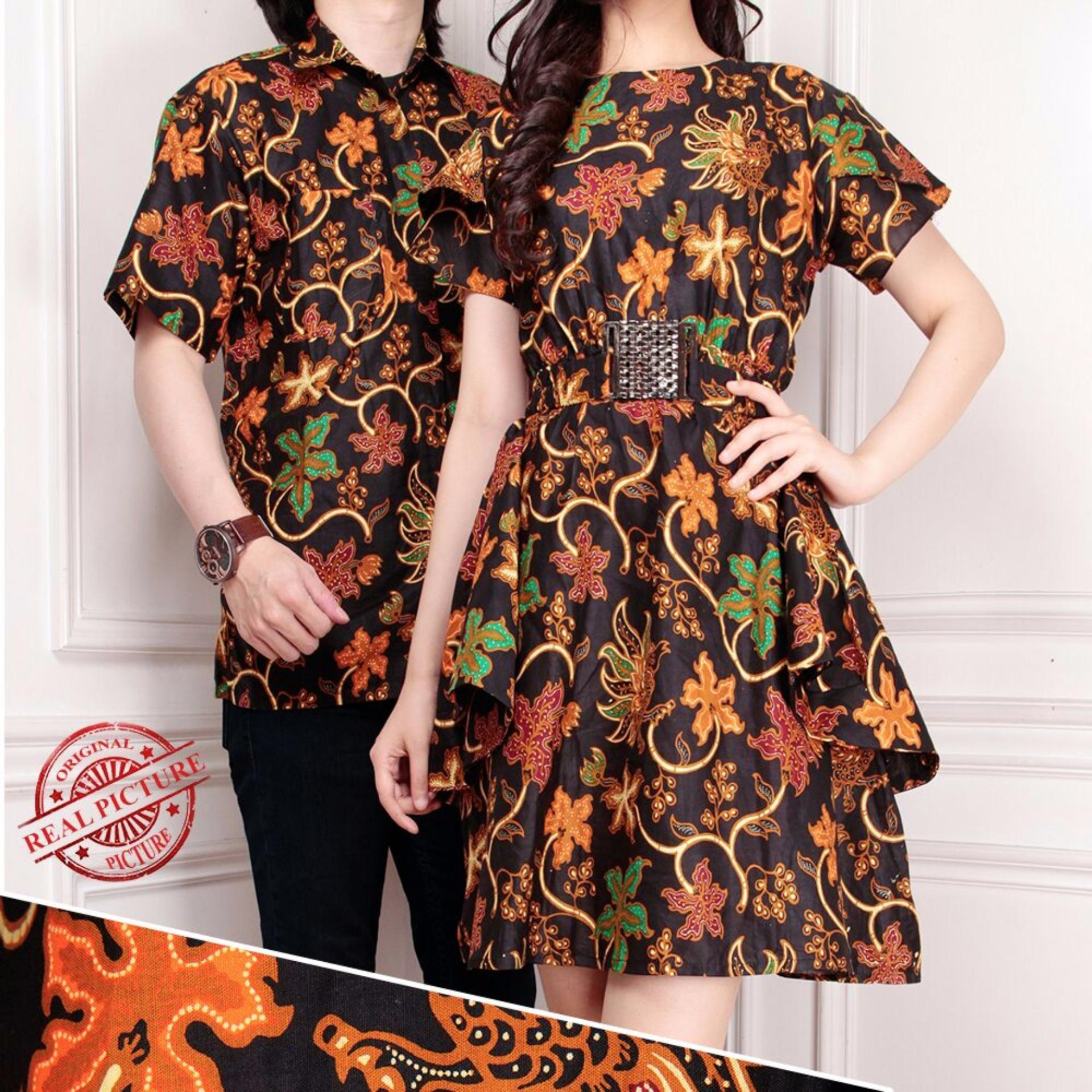 Jual Cepat Cj Collection Couple Batik Dress Maxi Pendek Wanita Mini Dress Dan Atasan Kemeja Pria Shirt Zellany