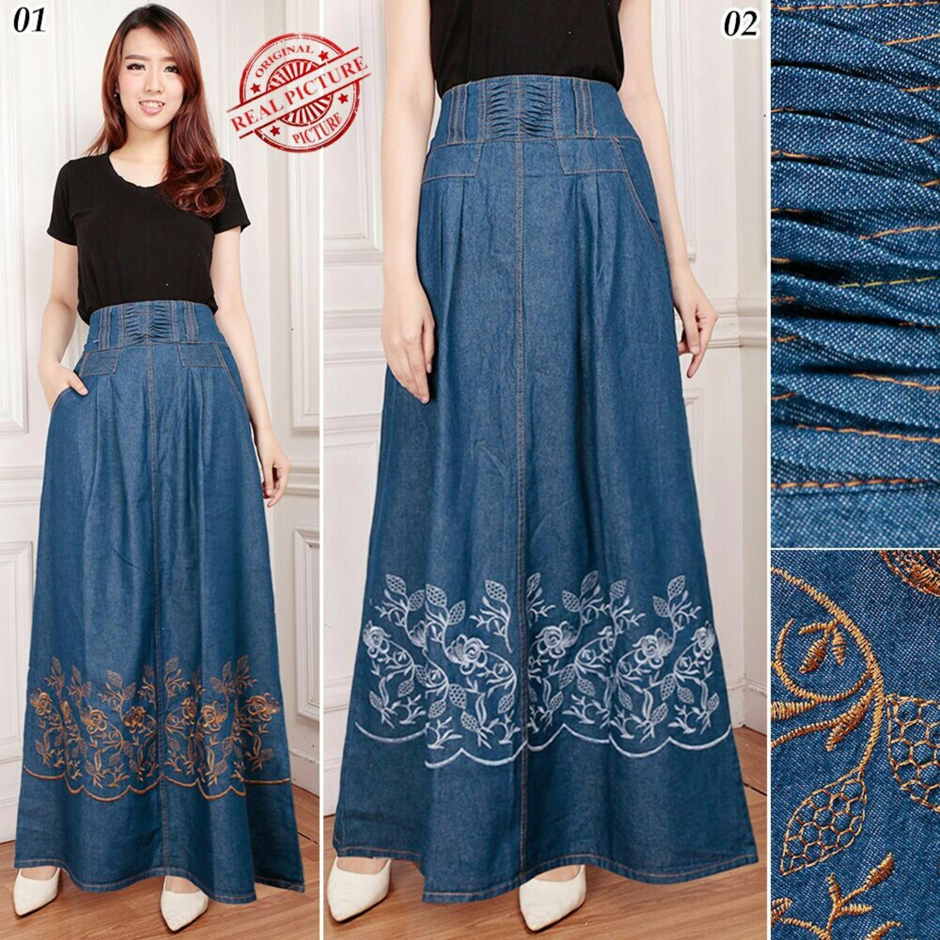 Beli Cj Collection Rok Jeans Maxi Payung Panjang Wanita Jumbo Long Skirt Garsina Murah